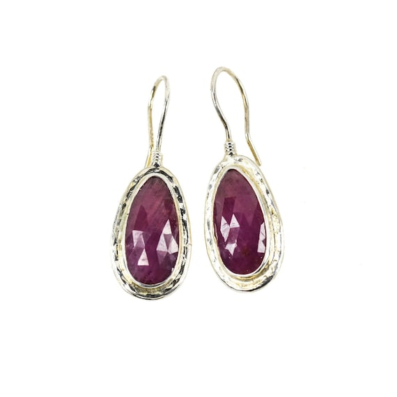 Silver Pink Sapphire Earrings , Sapphire  Earrings, Silver Earrings ,Natural  Gemstone, Pink Sapphire Earrings, Boho, For Her