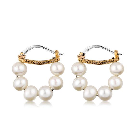 Silver Pearl Earrings, Hammered Earrings, Organic Jewelry, Silver Earrings, Natural Pearl, Elegant Earrings, Pearl Jewelry,  Gift For Her