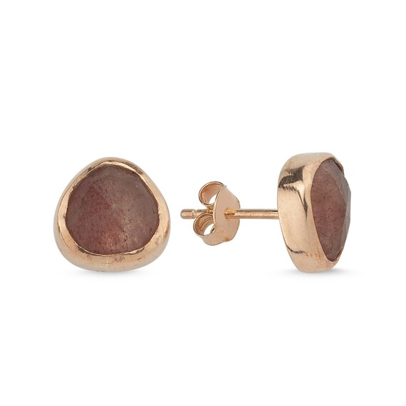 Silver Natural Strawberry Quartz Earrings, Rose Gold Earrings, Strawberry Quartz Earrings, Quartz Stud Earrings,