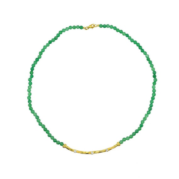 Silver Hammered Emerald Necklace 24 Karat Gold Plated with Cz Stones Gift For Her