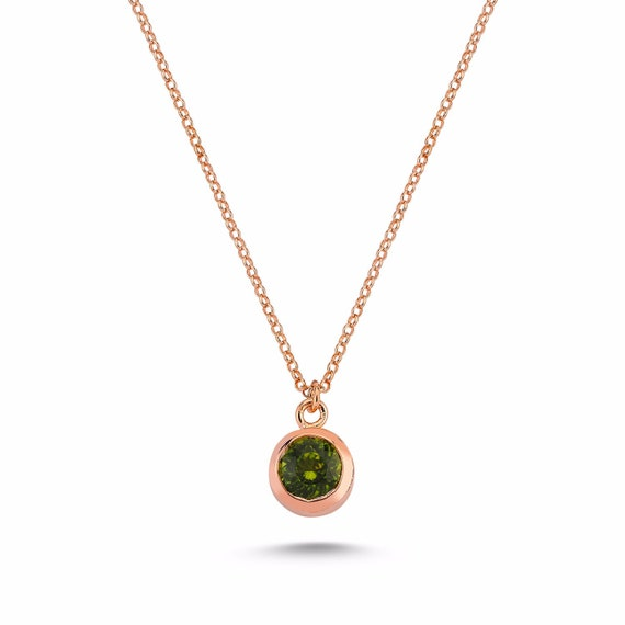 Sterling Silver Peridot Necklace, Rose Gold Necklace, Natural Gemstone, Peridot Necklace, Minimalist, August Birthstone, Statement Jewelry