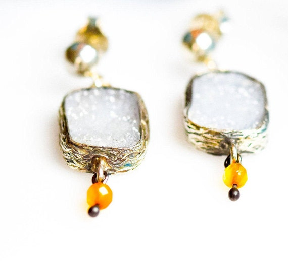 Silver Raw Blue Chalcedony Earrings, Druzy Earrings, Natural Chalcedony , Raw Drusy Gemstone ,Simple Earrings,  Gift For Her