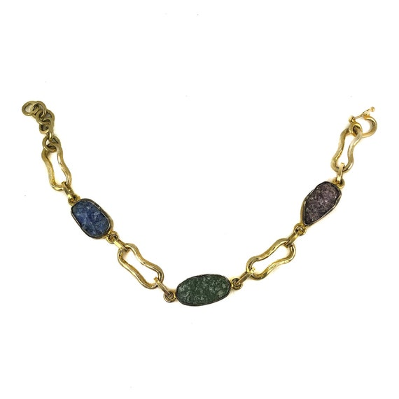 Raw Lepidolite Gold Bracelet, Fluorite Bracelet, Sodalite Bracelet, Statement Jewelry, Raw Gemstone  Bracelet, Druzy Bracelet, Gift For Her