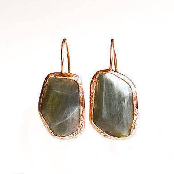 Silver Flat Labradorite Earrings ,Rose Gold Earrings, Simple Earrings, Natural Gemstone Earrings, Dainty Earrings,  Gift For Her