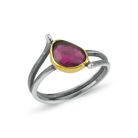 Handmade Silver Rhodolite Ring, Oxidized Ring, Natural Rhodolite Ring, Statement Ring, Garnet Ring, June Birthstone , Unique Ring, For Her