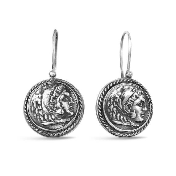 "Silver Ancient Coin Earrings ""Julius"" Gift For Her"