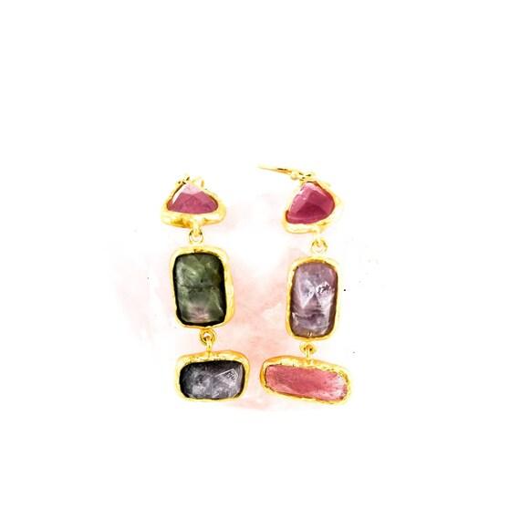 Silver Tourmaline Earrings, Gold Earrings, Tourmaline  Earrings, Natural Tourmaline, Natural Gemstone Earrings, Statement Earrings, For Her
