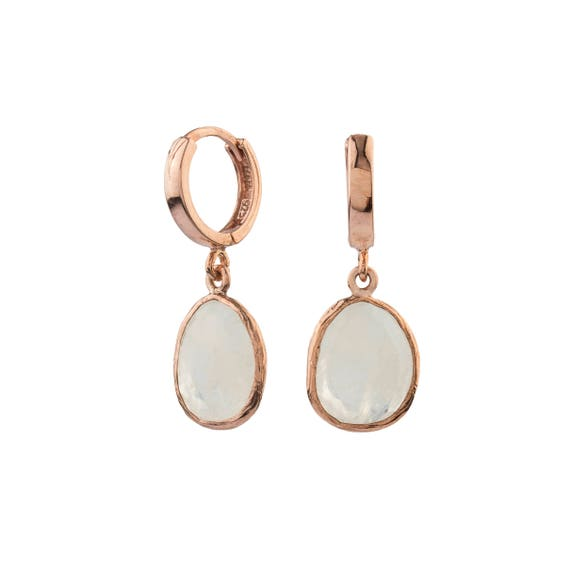 Silver Milky Moonstone Earrings in Rose Gold