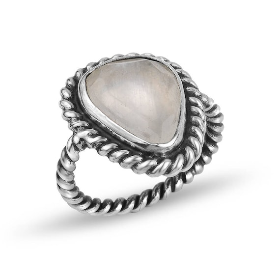 Silver Flat Rainbow Moonstone Ring Gift For Her