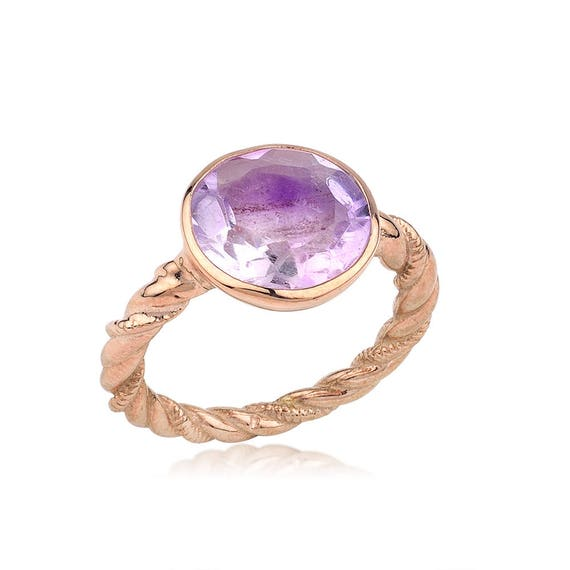 Silver Amethyst Ring, Rose Gold Ring, Natural Amethyst Ring, Statement Ring, Amethyst Ring, February Birthstone, Mothers Day Gift