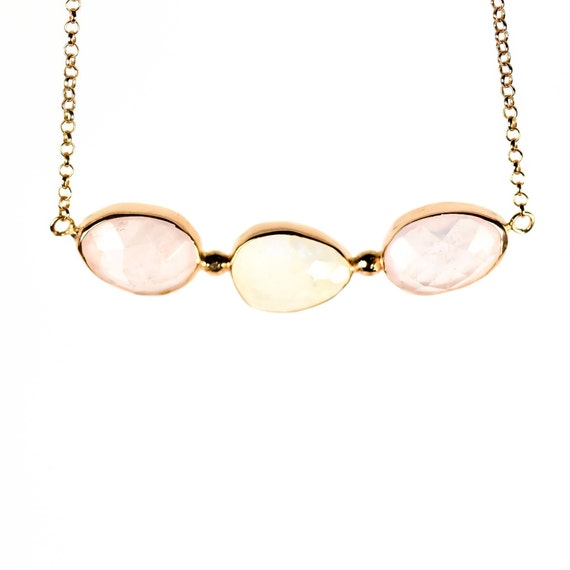 Beautiful Silver Rose Quartz Necklace In Rose Gold