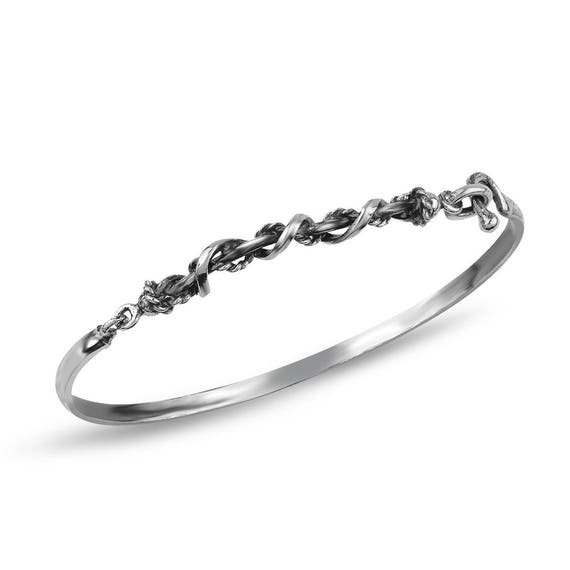 Gypsy Collection Silver Twisted Wire Bangle Gift For Her