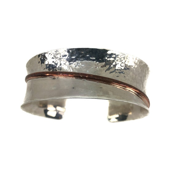 Sterling Silver Cuff Bracelet, Hammered Cuff Bracelet, Cuff Bracelet, Dual Tone  Bracelet, Simple Cuff, Statement  Bracelet, Silver Bracelet