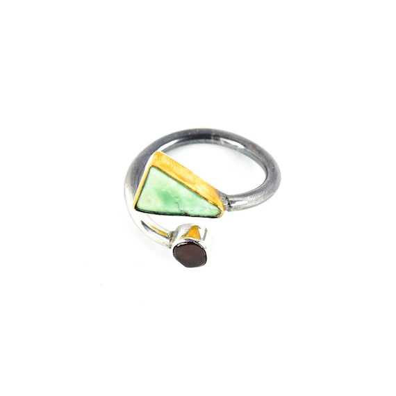 Dual Tone Silver And Gold Turquoise, Tourmaline  Ring
