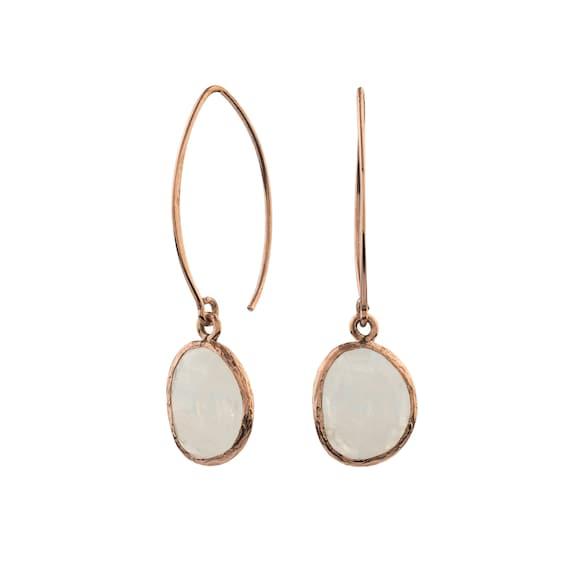 Silver Moonstone Earrings, Rose Gold Earrings, Simple Moonstone Earrings, Dangling Earrings, Natural Moonstone ,  Gift For Her