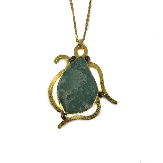 Silver Aventurine Necklace, Turtle Necklace, Statement Necklace, Raw Gemstone, Unique Necklace, Raw Aventurine, Animal Necklace, For Her