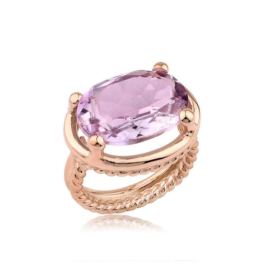Silver Amethyst Rose Gold  Ring, Twisted Wire Ring, Amethyst Ring, Natural Amethyst Ring, Statement Ring, February Birthstone, For Her