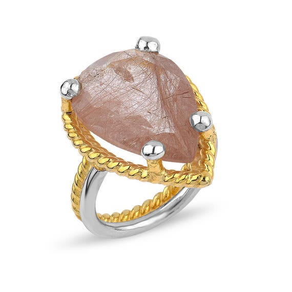 "Silver Strawberry Quartz  Ring Rose Gold "" Jada Collection"" Gift For Her"
