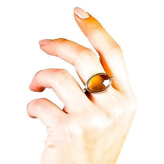 "Silver Flat Cognac Topaz Ring Oxidized ""Jada Collection "" Gift For Her"