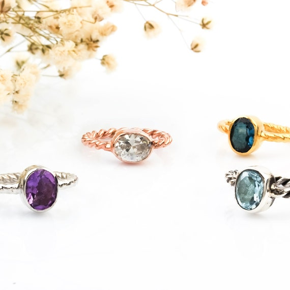 Minimalist Ring Silver , Natural Stone Ring Silver , Silver Aquamarine Ring , London Topaz Ring , Citrine Ring , Blue Topaz Ring , Ruby Ring