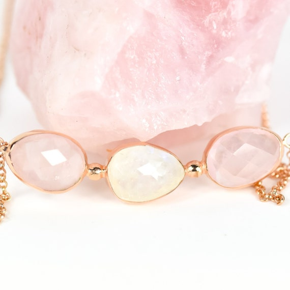 Beautiful Silver Rose Quartz Necklace In Rose Gold