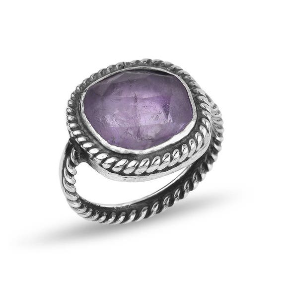 Silver Amethyst Ring, Twisted Wire Ring, Big Amethyst Ring , Statement Ring, Natural Amethyst Ring, February Birthstone, Gift For Her