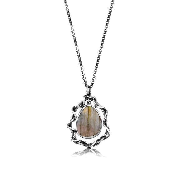 Silver Labradorite Pendant  Gift For Her