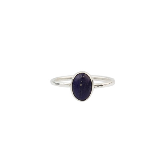 Silver Lapis Lazuli Solitaire Ring ,Minimalist Ring,Simple Lapis Ring, Gift For Her