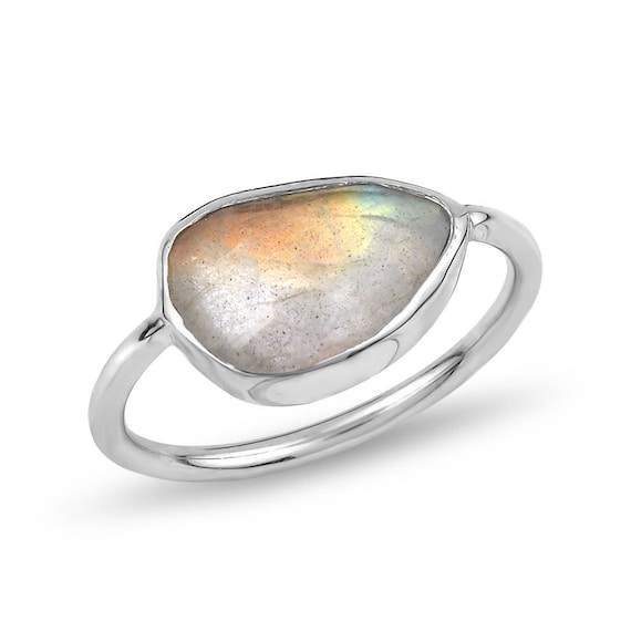 Silver Flat Labradorite Ring Gift For Her