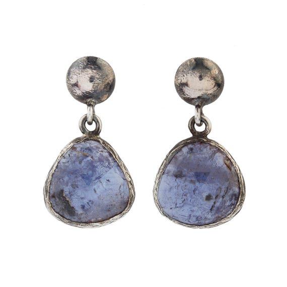 Silver Natural Tanzanite Earrings, Oxidized Earrings ,Tanzanite Earrings, Gift For Her