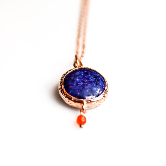 Silver Flat Lapis Lazuli Pendant, Rose Gold Akik Necklace,  Minimal Necklace,Minimalist, Dainty Necklace, Lapis Necklace, Gift For Her