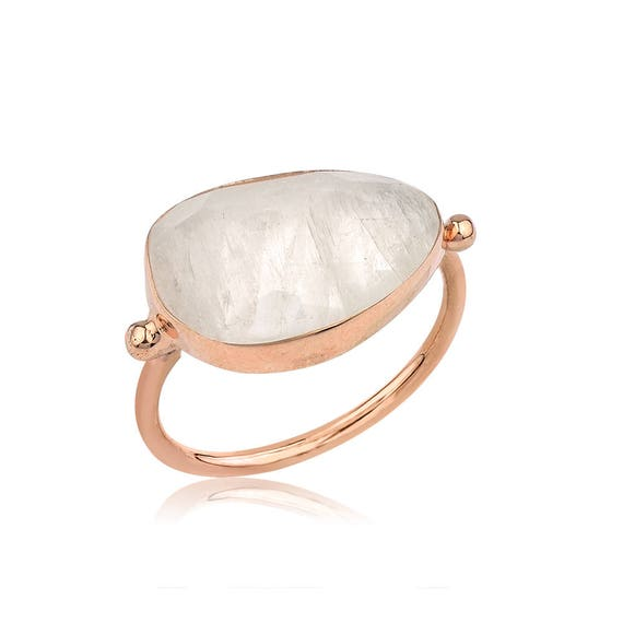 Silver Flat Moonstone Rose Gold Ring, Rose Gold Ring, Moonstone Ring, Sterling Silver Moonstone Ring, Natural Moonstone Ring, Gift For Her