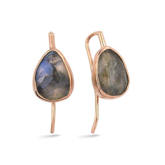 Silver  Labradorite Earrings, Rose Gold Earrings, Simple Earrings, Natural Gemstone Earrings, Dainty Earrings,Silver Jewelry,   Gift For Her