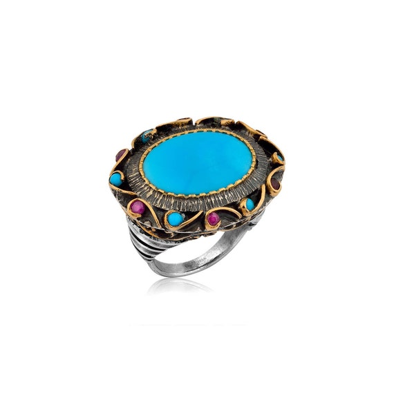 Turquoise Ring with Rubies, Statement Ring, Silver Turquoise Ring, Big Ring, Ruby Ring, Cocktail Ring, Unique Ring,   Gift For Her