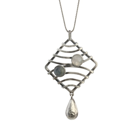 Trendy Oxidized Silver Moonstone Necklace