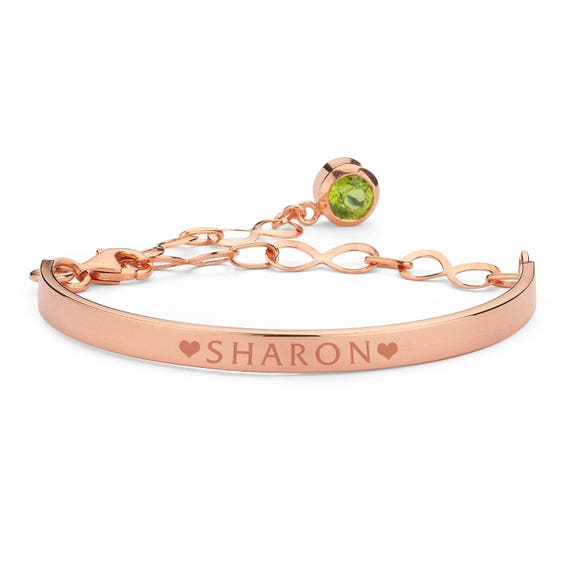 Personalized Bracelet, Birthstone Bracelet, Rose Gold Bracelet, Silver Bracelet, Engraved Bracelet, Birthstone, Valentine's Day, For Her