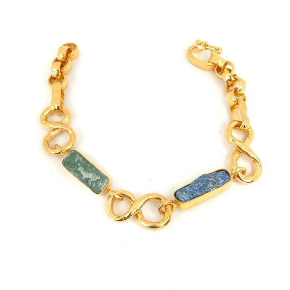 Raw Sodalite  and Jade Gold Bracelet