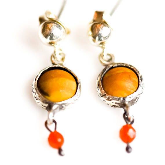 Silver Bronzite Earrings, SilverAkik Earrings, Natural Bronzite Earrings ,Dainty Earrings,Minimal Earrings, Gift For Her