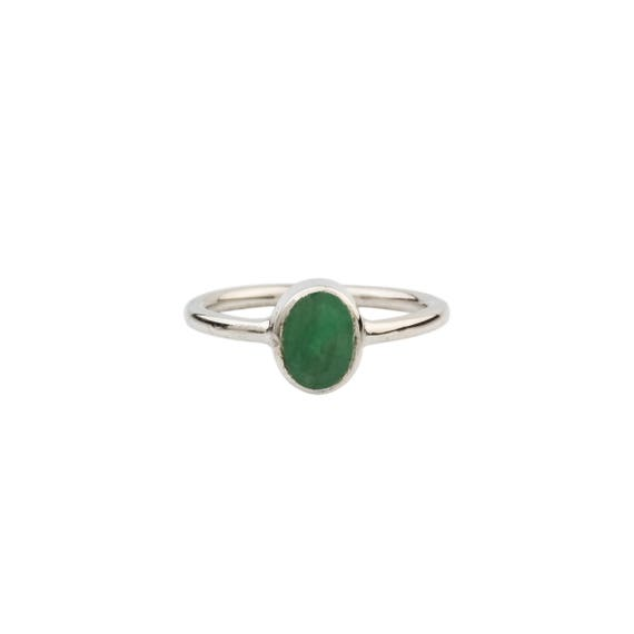 Silver Emerald Ring, Natural Emerald Ring, Solitaire Ring, Simple Emerald Ring, Solitaire Emerald Ring, Gift For Her