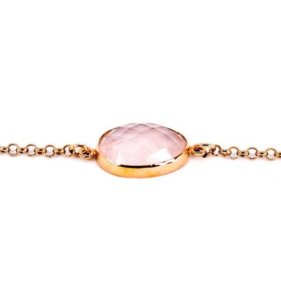 Rose Quartz Rose Gold Bracelet Sterling Silver
