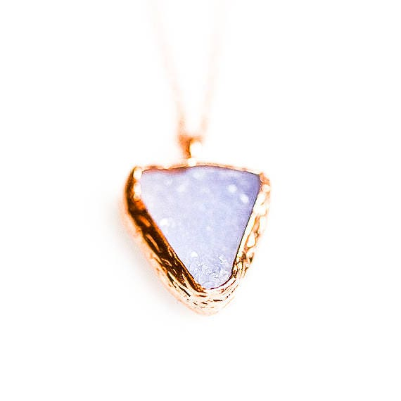 Silver Druzy Blue Chalcedony Pendant , Rose Gold Raw Chalcedony Necklace , Drusy , Minimalist Necklace , Dainty, Geometric ,  Gift For Her