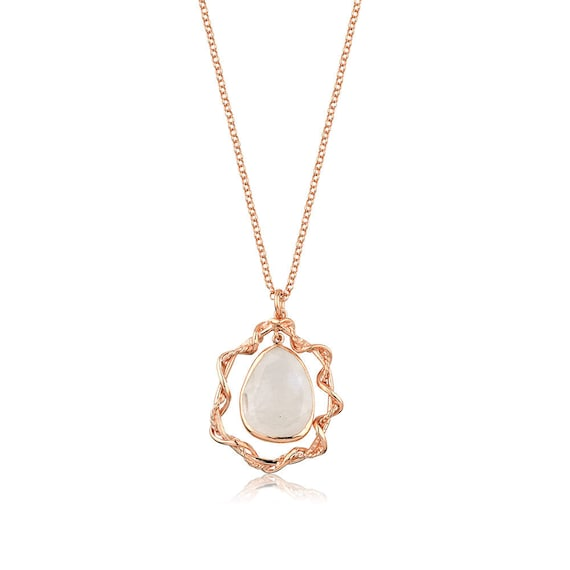 Silver Rose Gold Rainbow Moonstone Pendant  Gift For Her