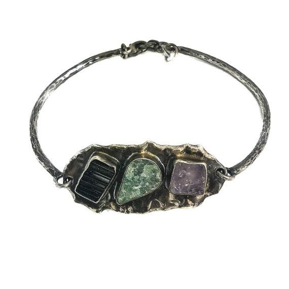 Silver Fluorite  Aventurine Bracelet Black Tourmaline Bracelet