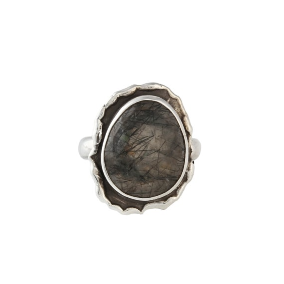 Silver Black Rutilated Quartz Ring,Natural Black Rutilated Quartz, Statement Ring, Healing Ring, Silver Ring, Two Toned Ring, Gift For Her