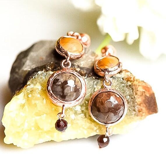 Silver Bronzite Earrings, Rose Gold Garnet Earrings, Natural  Bronzite and  Garnet Earrings ,Dainty Earrings , Gift For Her