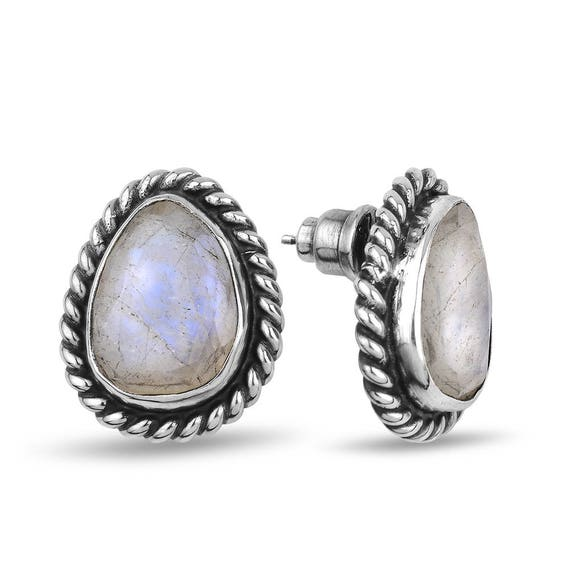 Silver Flat Rainbow Moonstone Wire Earrings Gift For Her