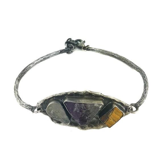 Oxidized Silver Fluorite Moonstone Tigers Eye Bracelet