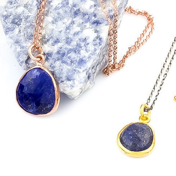 Silver Flat Lapis Lazuli Necklace, Rose Gold Necklace,  Minimal Necklace,  Gift For Her