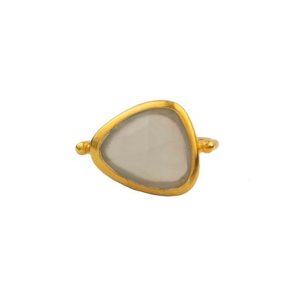 "Silver Flat Golden Moonstone Ring  ""Jada Collection "" Gift For Her"