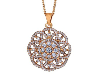 14k Gold Filled Chain Necklace with Crystallized Star Facet Pendant